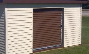 Steel roll-up door in brown